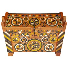 Hungarian Dowry Chest, in Beech, with Carved and Painted Decorative Design