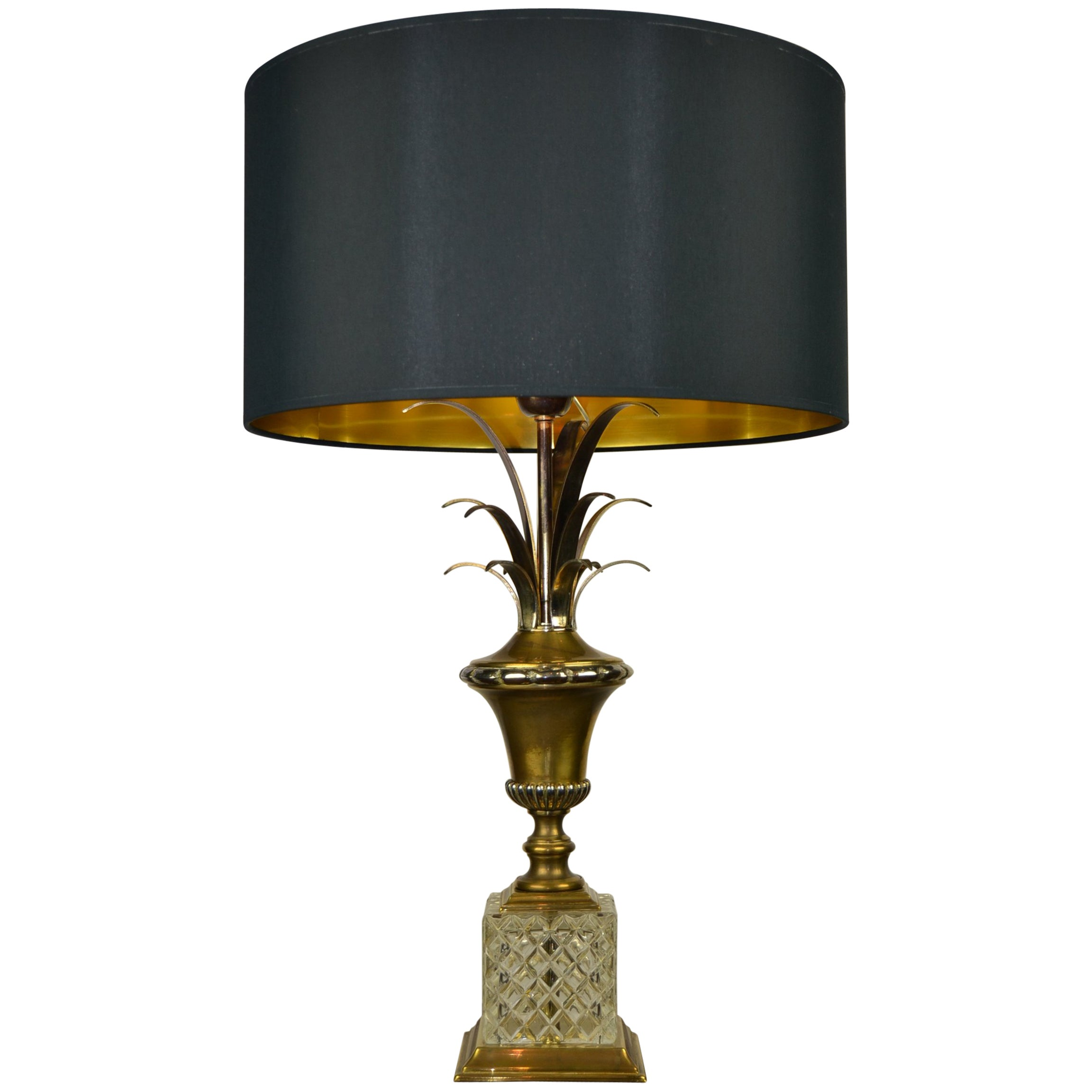 Hollywood Regency Pineapple Leaf Table Lamp, Gilt Brass and Crystal, France