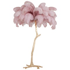 Hollywood Regency Feather Palm Tree Floor Lamp in Gold and Pink