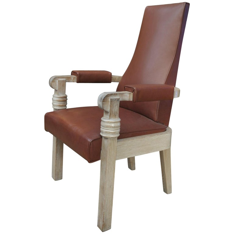 Charles Dudouyt Leather and Oak French Armchair, circa 1940