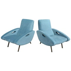 Pair of  Lounge Chairs by François le tourneur 1950 Reupholstered