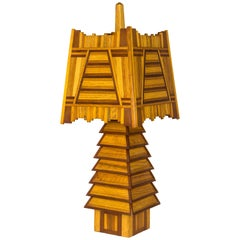 Adirondack Wooden Table Lamp, circa 1920, USA
