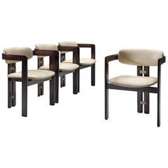 Augusto Savini Set of Four 'Pamplona' Chairs in Off-White Leather