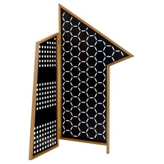 Opto, Folding Screen B, Black, Natural Oak Frame, Minimalist, Bauhaus Mood