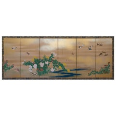 Japanese Six-Panel Folding Screen by Hara Zaichu