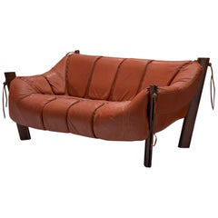 Percival Lafer Two-Seat Sofa in Rosewood and Red Leather