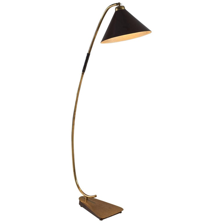 Italian Floor Lamp with Brass and Metal