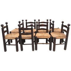 Charles Dudouyt Set of 8 Oak Chairs, Quille Model with Straw Seat, French, 1940s