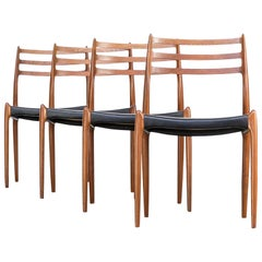 1960s Niels O. Møller 'Model 78' Dining Chairs for J.L. Møller Set of Four