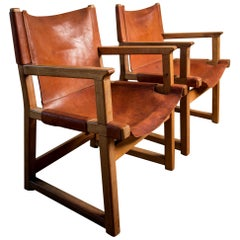 Pair of Cognac Leather Armchairs in the Manner of Børge Mogensen, circa 1960