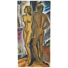 """Nude Couple by Moonlight,"" Superb Art Deco Painting by Virginia True"