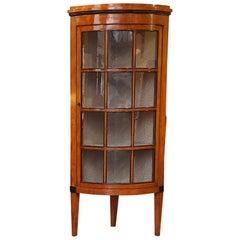 Mid-19th Century Biedermeier Satin Birch Corner Display Cabinet