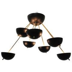 Midcentury Design Italian Sputnik Chandelier, 1960s Stilnovo Black Gold