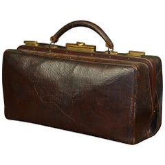 Vintage Brown Leather Doctor's Bag with Brass Lockers