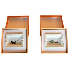 Pair of Limoges Porcelain Golf Ashtrays, France