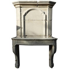 19th Century Louis XV Fireplace with Limestone Upper Mantle