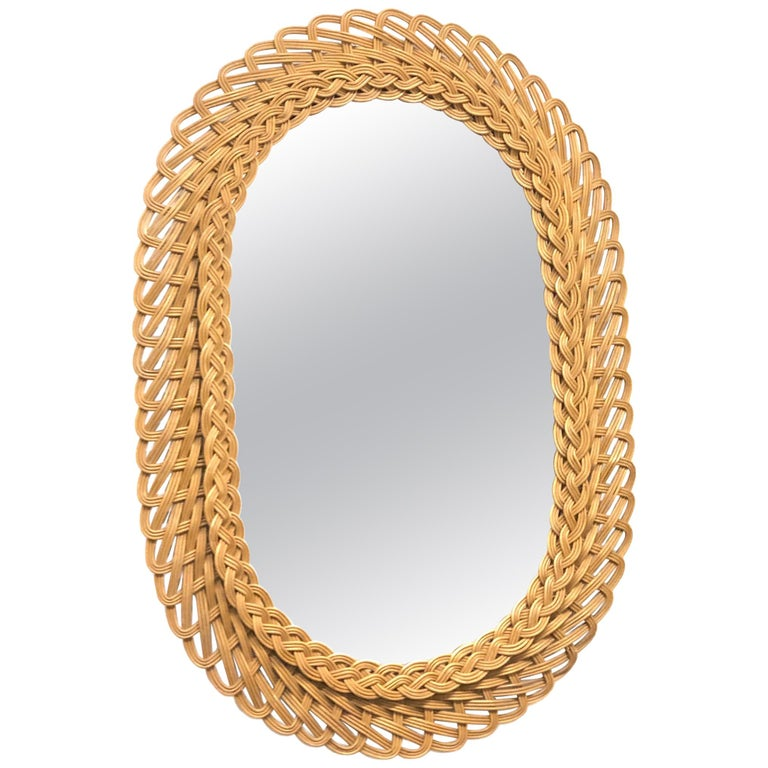 Oval Mid-Century Modern Handcrafted Braided Rattan Mirror, Germany, 1960s
