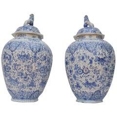 Large Pair of Dutch Delft Jars