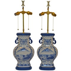 Blue and White Lamps in the Chinoiserie Taste