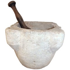 18th Century Spanish Hand Carved Stone Kitchen Mortar and Wooden Pestle