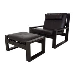 Brutalist Lounge Chair and Ottoman by Sonja Wasseur, Dutch Design, 1970s