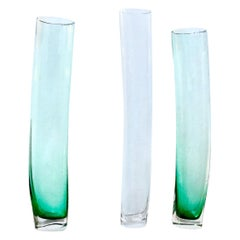 """Minimal Murano Green & Clear Art Glass """"Avec Grass"""" blown-glass Vase Set, 1990s"""