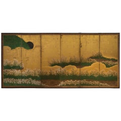 Rare Momoyama Period Japanese Folding Screen with a Field of Pinks, 17th Century