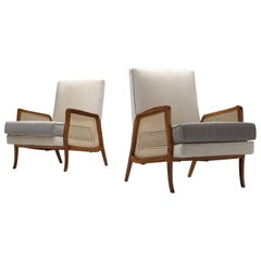 Brazilian Rosewood Lounge Chairs with Cane and Fabric Upholstery