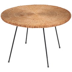French Mid-Century Modern Matégot Style Coffee Table with Wicker Top, 1950s