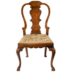 Quality 19th Century Walnut Side Chair with Original Needlework Seat
