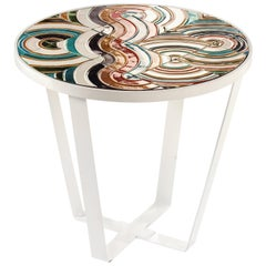 Side Table Caldas Round with Portuguese Tiles