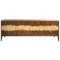 Customizable Milano Brown Walnut Buffet in Wave Glass Mosaic by Ercole Home