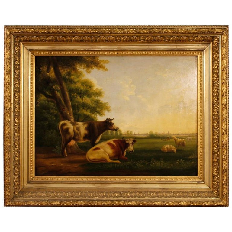 19th Century Oil on Panel Flemish Painting Landscape with Cows, 1870