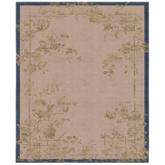 Chinoiserie Immortality Grove Gold Leaf Wool and Silk Rug Hand Knotted