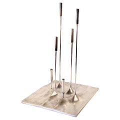 """Silver Plated Candleholder """"Sol Lunaire"""" by Tapio Wirkkala for Christofle, 1959"""