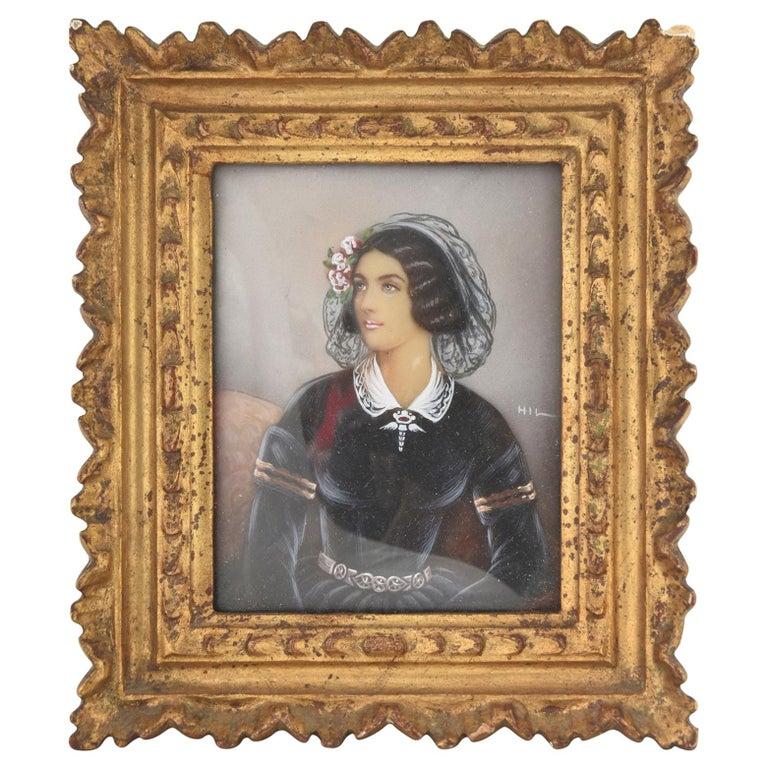 Antique Hand Painted Miniature Portrait of Lola Montez, Lady with Ringlets For Sale