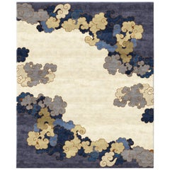 Chinoiserie Curly Waves Gold Wool and Silk Hand Knotted Rug