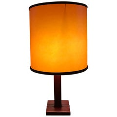 Burgundy Leather Table Lamp by Le Tanneur,  France, 1950s