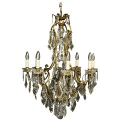 French, 19th Century Gilded and Crystal 9-Light Antique Chandelier