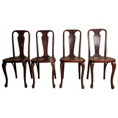 Set of Rare Splat Back Art Deco Thonet Dining Chairs, circa 1920