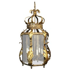Italian Large Florentine Six Light Hexagonal Hall Lantern