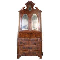 20th Century Italian Louis XIV Style Trumeau, Secretaire in Walnut and Burl