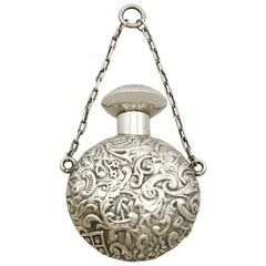 Victorian English Sterling Silver Scent Flask Antique