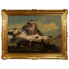 20th Century Oil on Canvas Italian Signed Mountain Landscape Painting, 1920