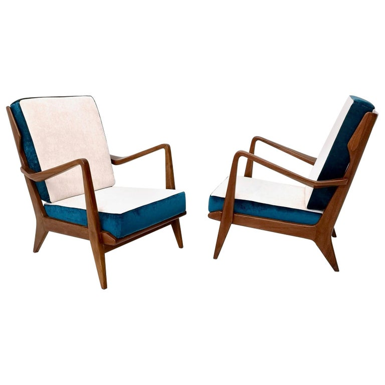 White and Blue Armchairs Mod 516 by Gio Ponti for Cassina, Italy, circa 1955