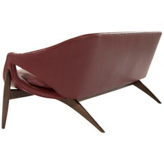 Exceptional Sofa in Chianti Leather by Luigi Tiengo for Cimon Montréal, 1963