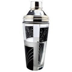 Art Deco Silver Plated and Glass Cocktail Shaker