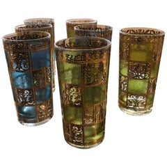 Set of 8 Signed Culver Mid-Century Modern Green, Blue & Gilt Cocktail Glasses