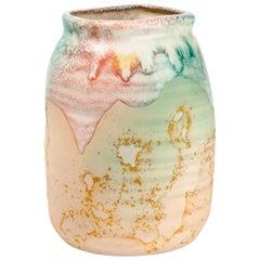 American Raku Pottery Vase by Tony Evans, Green, Pink, Beige, 1970s