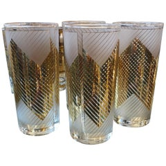 Signed Mid Century Modern s/4 Frosted, 22K Gold Chevron Pattern Cocktail Glasses